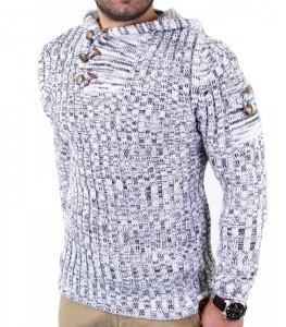 404 AB pull à capuche hiver homme blanc