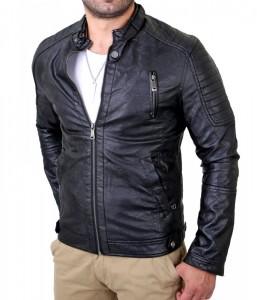 421 AB veste imitation cuir fashion homme noir avant