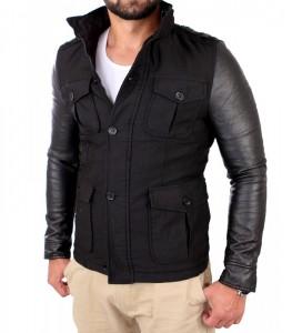 496 manteau fashion hiver manche cuir homme noir