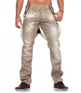9608 jean fashion homme a bretelle beige