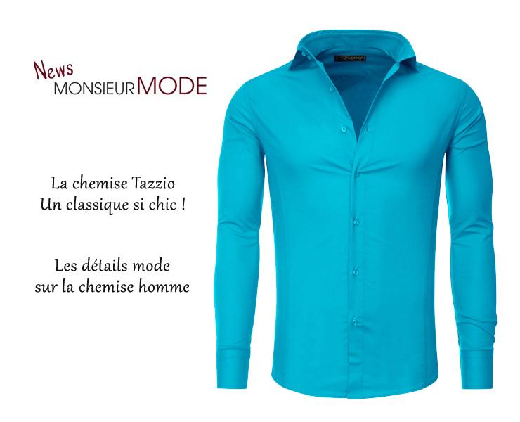 Chemise TazzioLe Homme Style Une Pour Classique Mode Nnv8m0w