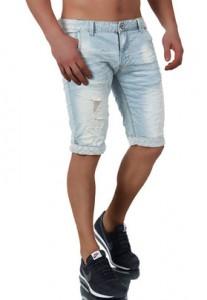 3640 short en jean fashion pour homme bleu avant