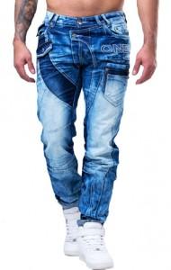8306 jean homme fashion délavé bleu avant