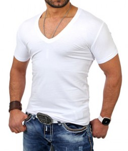 tee shirt col v homme blanc monsieurmode