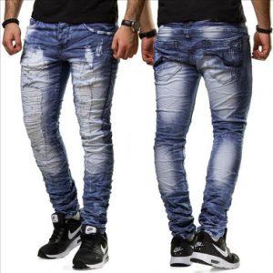 6535 jean fashion homme déchiré coupe ajustée bleu