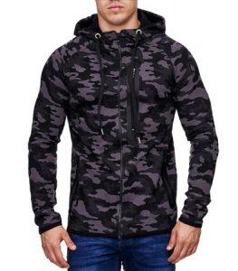 Veste camouflage militaire à capuche pour homme noir