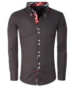 110 chemise fashion pour homme slim fit anthracite