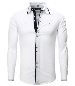 8245 chemise coupe ajustée double bouton pour homme blanc