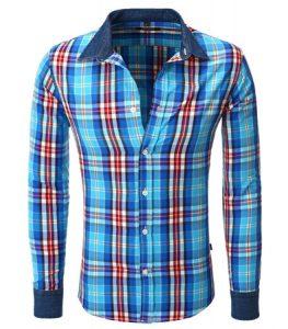 8175-chemise-a-carreaux-pour-homme-coupe-ajustee-bleu