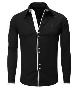 8245-chemise-coupe-ajustee-double-bouton-pour-homme-noir