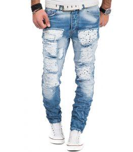 3126-jean-fashion-homme-coupe-ajustee-et-dechire-bleu