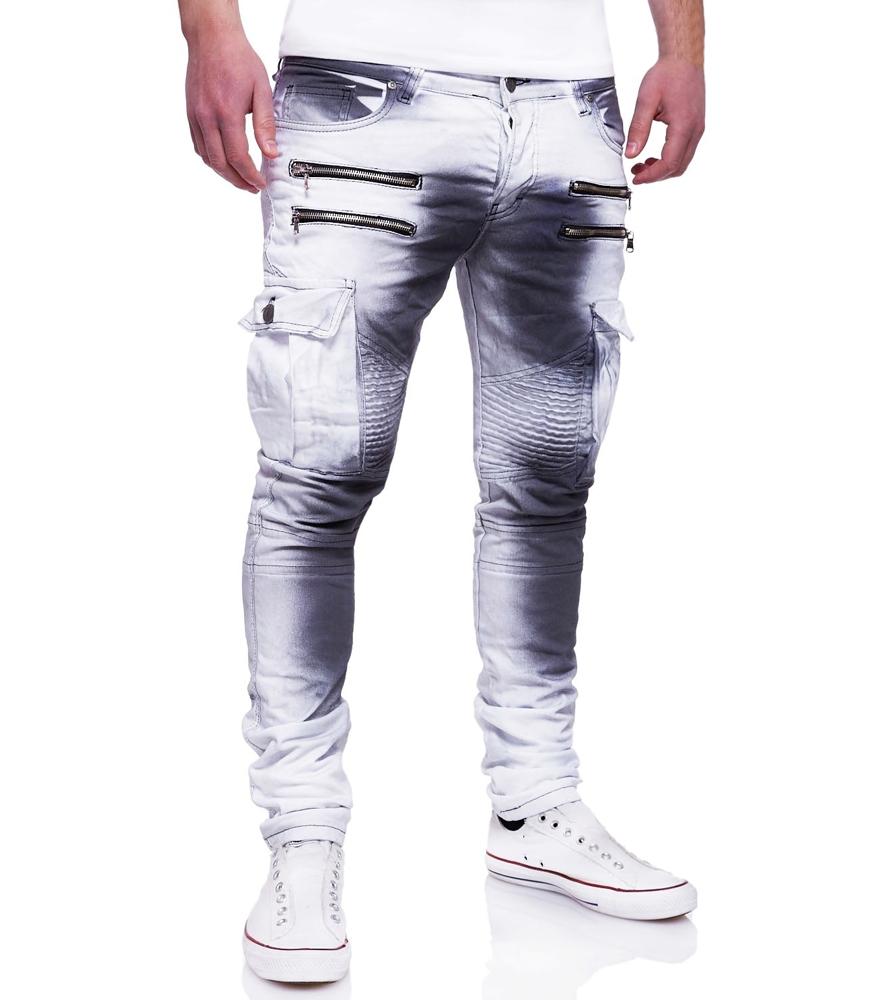 jean fashion homme blanc jean cargo blanc délavé