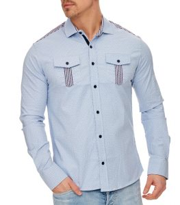 chemise fashion homme bleu