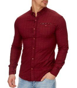 chemise mode chic rouge bordeaux pour homme