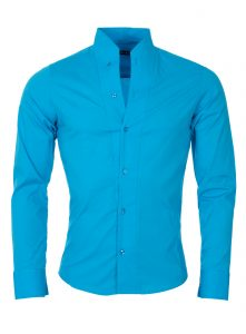 chemise homme col mao turquoise