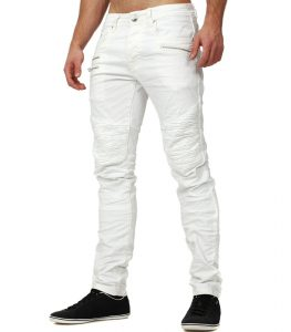 Jean texturé blanc pour homme