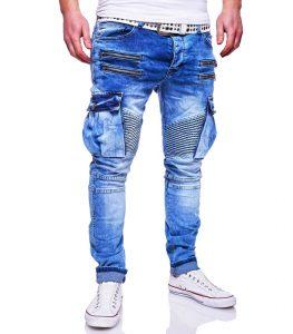 jean cargo mode homme bleu délavé