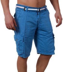 bermuda mode homme cargo bleu