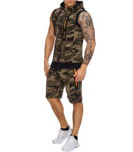 survêtement été short et veste camouflage